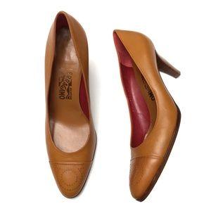 Salvatore Ferragamo Leather Gancini Logo Heels